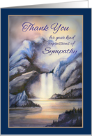 Thank You for Sympathy, Misty Waterfall in Blue Tones with Lake and Landscape card