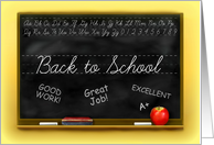 Back to School for Teacher, Chalkboard with Apple and Chalk card