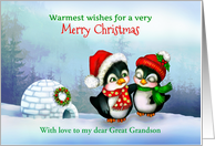Christmas Penguins with Igloo, Custom Front for Family Relationship card
