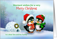 To Son and Family, Merry Christmas Penguins in Snow with Igloo card