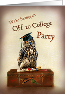 Off to College Party Invitation, Owl with Graduation Cap on Suitcase card