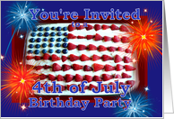 Invitation 4th of July, Birthday Party, Cake and Fireworks card