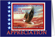 Thank You Military Husband, Military Spouse Appreciation, Flying Eagle card
