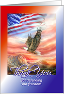 Military Service Thank You to Serviceman, Eagle & American Flag card