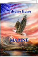 Marine Welcome Home, Flying Eagle and American Flag Sunset card