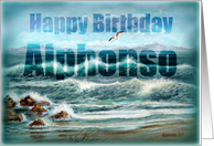 Happy Birthday Alphonso, Aqua Seascape with Seagulls card