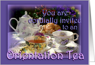 Orientation Tea Invitation, Vintage Tea Pot, Cups and Saucers card