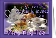 May Day Tea Invitation, Vintage Tea Pot, Cups and Saucers card
