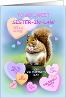 To Sister-in-Law, Happy Valentine's Day Squirrel with Candy Hearts card