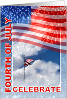 July 4th Party Invitation, American Flag and Fireworks card
