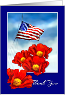 Thank You for Military Service, Flag and Red Poppies card
