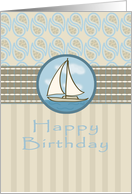 Sail Away and enjoy the sea air on your Happy Birthday card