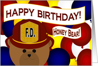 Honey Bear / Husband - Happy Birthday to Your Favorite Firefighter card