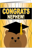 Nephew - Any Graduation Celebration with Cap & Gown Bear card