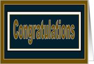 Congratulations! - Navy Blue & Gold U.S. Navy card