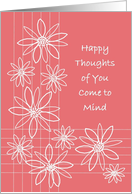 Thinking of You, Happy Thoughts of You Come to Mind Though You are Far Away card