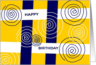 For Over the Hill Happy Birthday Blue & White Swirlie card