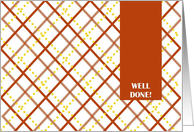 Well Done! Honor Roll - Orange and Gold Plaid card