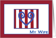 Blue Doodle Heart My Wife - Military Spouse Appreciation card