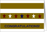 Stars and Gold Stripes Congratulations - Military Promotion card