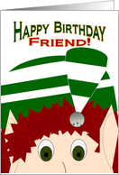 Happy Birthday Friend! - Christmas Elf card