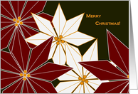 Merry Christmas - Eclectic Stylized Poinsettias - Business card