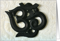 OM wooden carving Happy Birthday card
