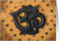 OM wooden carving Happy Birthday Indian Fabric card