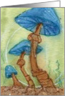 Blue Mushrooms - Blank Note Card