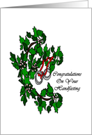 Congratulations on your Handfasting Pagan Wedding Rings and Flowers card