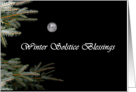 Winter Solstice Blessings Evergreens and Full Moon card