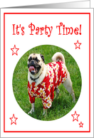 It's Party Time Pug Dog Birthday Party Invitation card