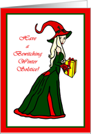 Have a Bewitching Winter Solstice Witch with Present card