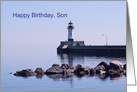 Happy Birthday Son, Lighthouse Lighting Your Way Wiith Clear Skies card