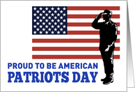 Patriots Day card featuring American soldier saluting flag card
