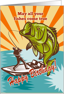 Birthday Day card featuring Fly Fisherman catching largemouth bass card