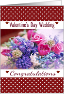 St Valentine's Day Wedding Congratulations, pink, blue flowers,hearts card