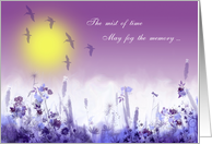 Remembrance of a friend, mist of time, pastel lilac,blue,violet,birds card