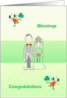 St Patrick's day wedding congratulations, bride & groom, leprechauns, card