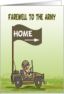 Army discharge welcome home forever, home for good, farewell army, card