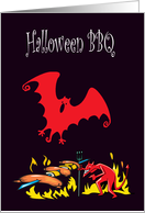 Halloween BBQ Invitation, Devil Roasting Hot Dogs, with Bat card