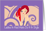 Red hat style birthday greeting, Ladies in red hats do it in style, card