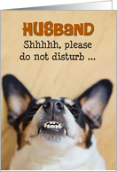 Husband - Funny Birthday Card - Dog with Silly Smile card