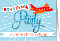Bon Voyage Party Invitation Add Custom Text - Airplane with Banner card