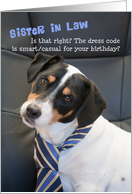 Sister in Law Birthday Card - Dog Wearing Smart Tie - Humorous card