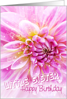 Little Sister Birthday Card - Exciting Party Time Floral card