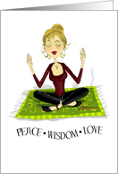 Yoga Birthday Girl Wisdom, Peace and Love card