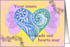 Your Music Made Our Hearts Soar for Retiring Organist, Heart and Wings card