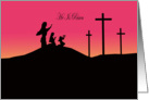 He is Risen, Easter, Sunrise with three crosses and three Mary's card