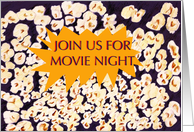 Join us for Movie Night, popcorn, invitation, yellow dialogue box card